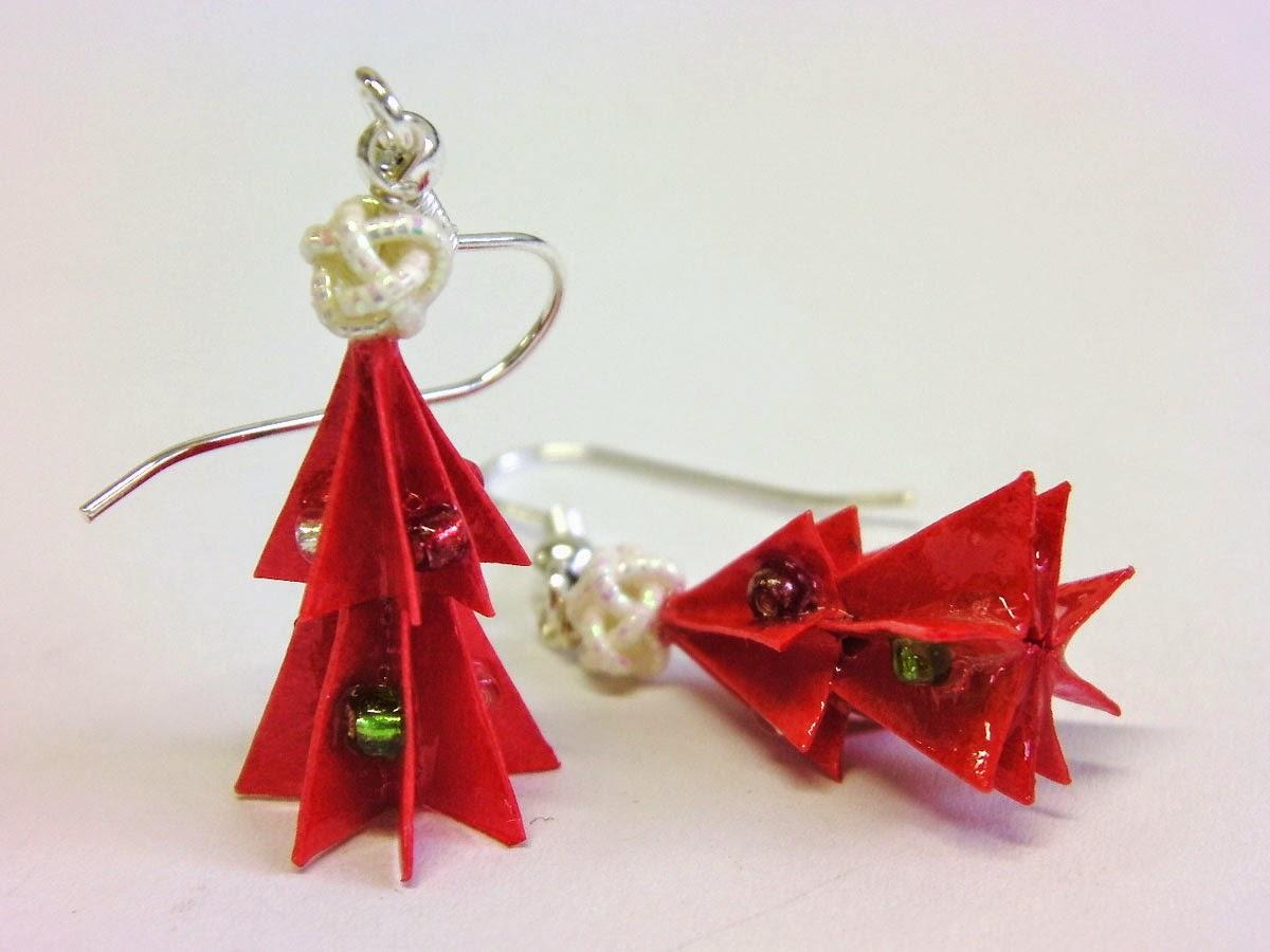 Kami art cr ation en papier japonais boucles d 39 oreilles - Origami sapin de noel ...
