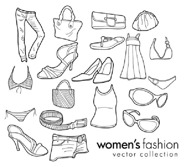 ファッション素材の線画 Womens Fashion Doodles