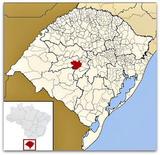 Cidade de Santa Maria, no mapa do Rio Grande do Sul.