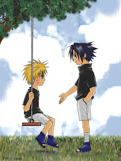 young Sasuke and Naruto on a swing, Sasuke hand out