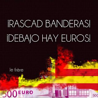 """""""Nacionalismo"""", """"Diada"""", """"banderas"""", """"euros"""", """"España"""", """"Cataluña"""""""