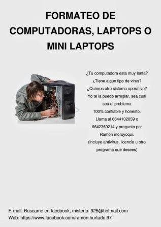 Formateo de computadoras, laptops o mini laptops