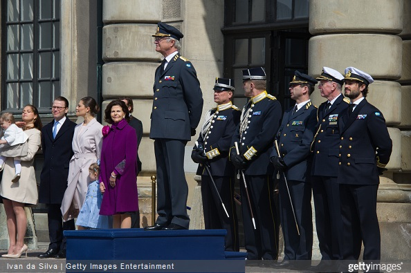 Princess Madeleine and Princess Elonore , Prince Daniel, Crown Princess Victoria, Princess Estelle, Queen Silvia and King Carl Gustaf XVI and Prince Carl Philip are seen during the celebration of the King's birthday at Palace Royale