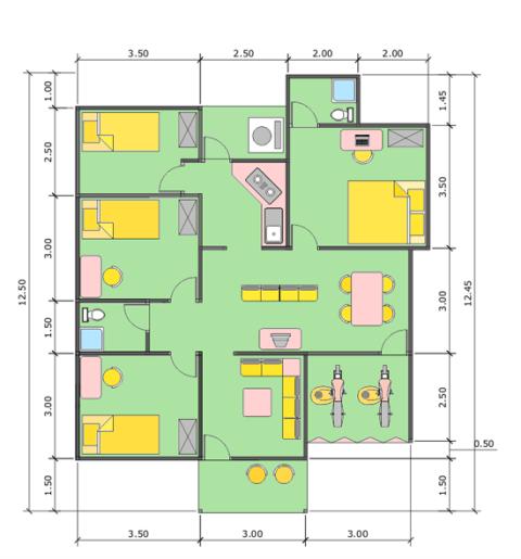 desain denah rumah minimalis 1 lantai 3 kamar tidur