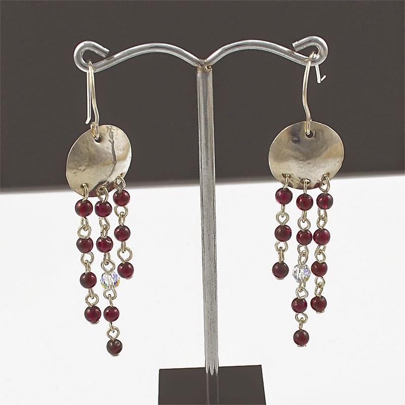 Silver Dome Garnet Earring