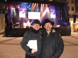 """Con mi ex-alumno Txuso Juaristi en el certámen """"En Marcha Música Xove"""". Lugo, 16/04/11"""