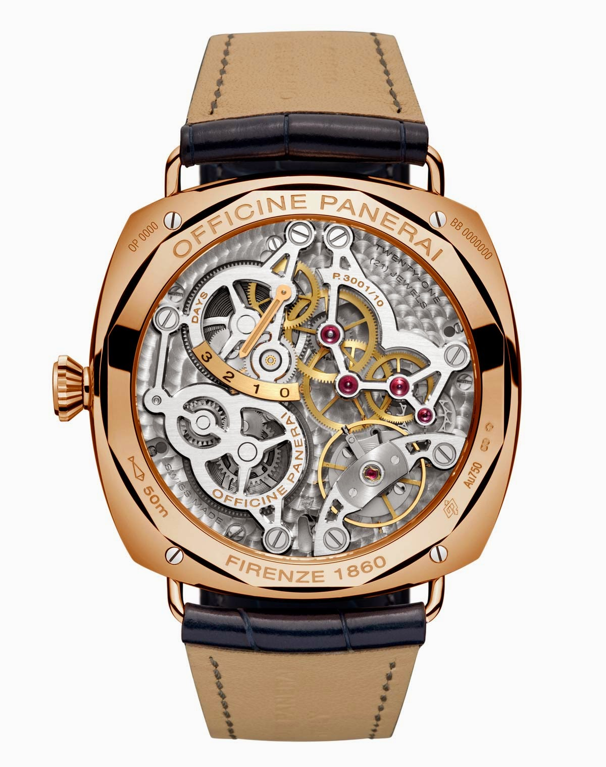 Panerai Radiomir 3 jours GMT Or rouge Radiomir-3-Days-GMT-Oro-Rosso-Pam598-back