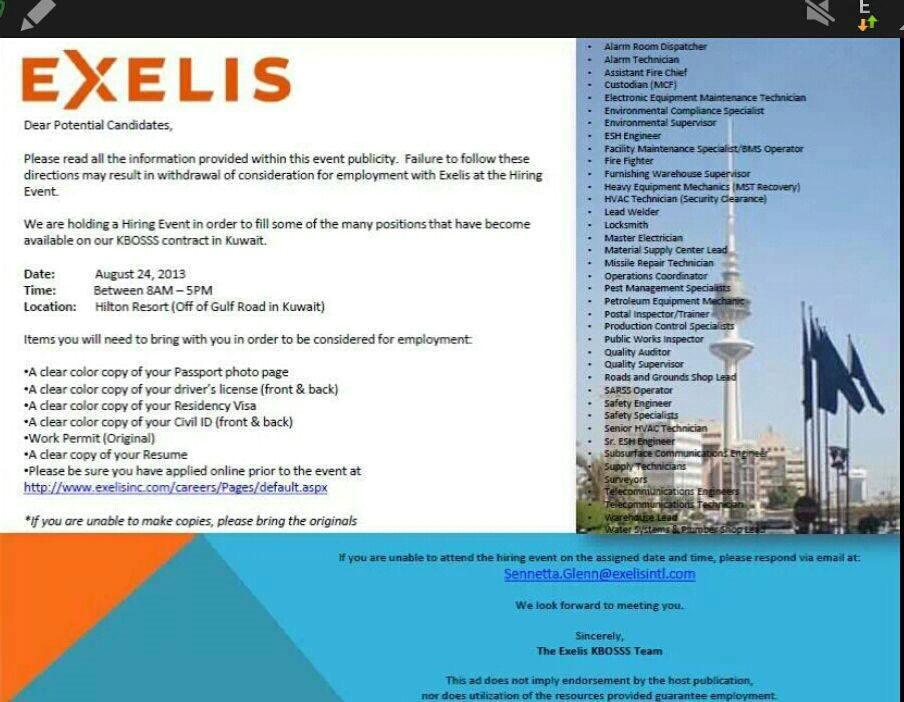 title>ITT Exelis wants you (or anyone with a pulse)- Kuwait Job Fair ...