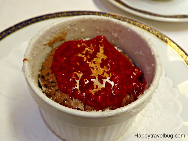 Chocolate-espresso shuffle with raspberry sauce on Holland America Cruise