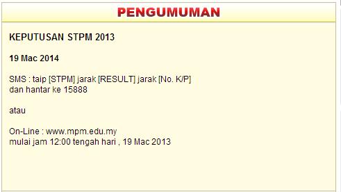 Result STPM 2013