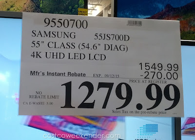 Deal for the Samsung 55-inch UN55JS700D 4K UHD Smart LED LCD tv at Costco
