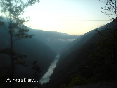 River Ganga in the Garhwal Himalayas in Uttarakhand on the Char Dham Yatra Roadway