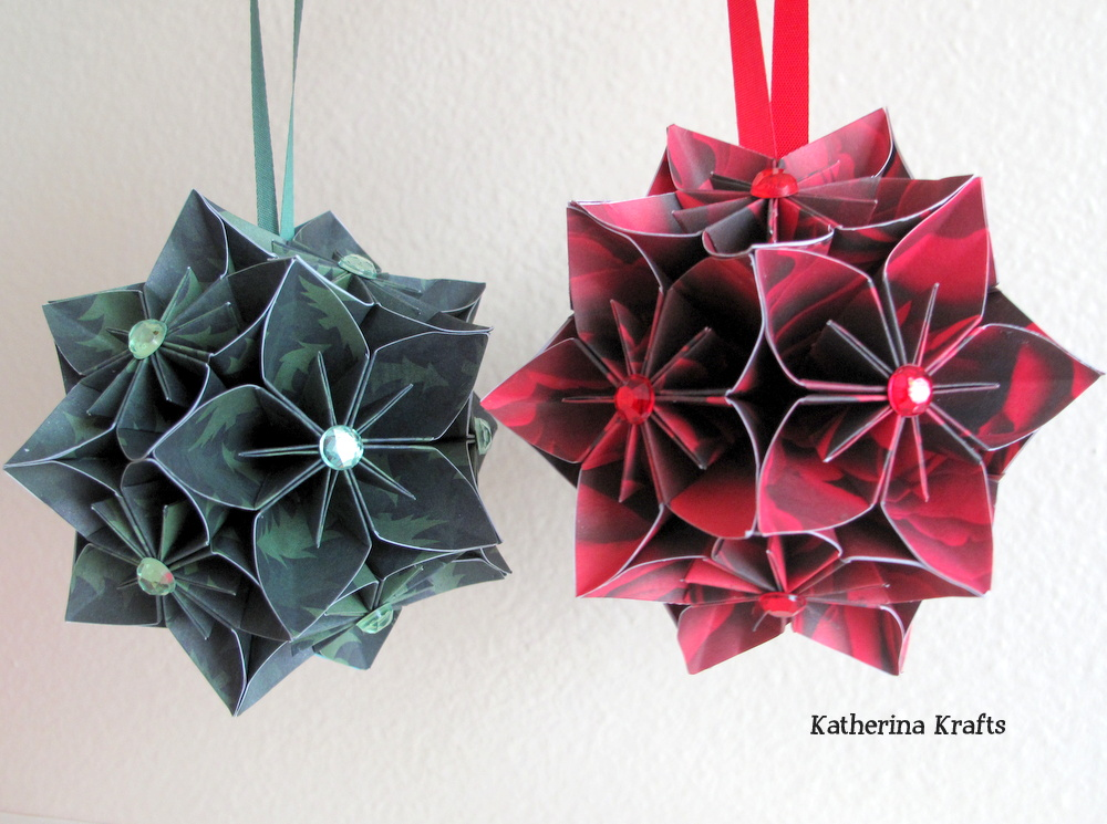 Katherina krafts christmas kusudama ball ornaments today these balls are made from 12 individual origami flowers attached to each other to create this beautiful ornament mightylinksfo