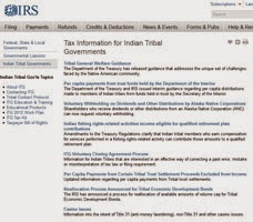 screen shot of IRS web page