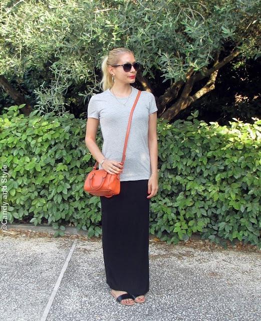 GreyTee+MaxiSkirt+BlackSlides+MiniBag+HighPonytail+OrangeNails - Lilli Candy and Style Fashion Blog