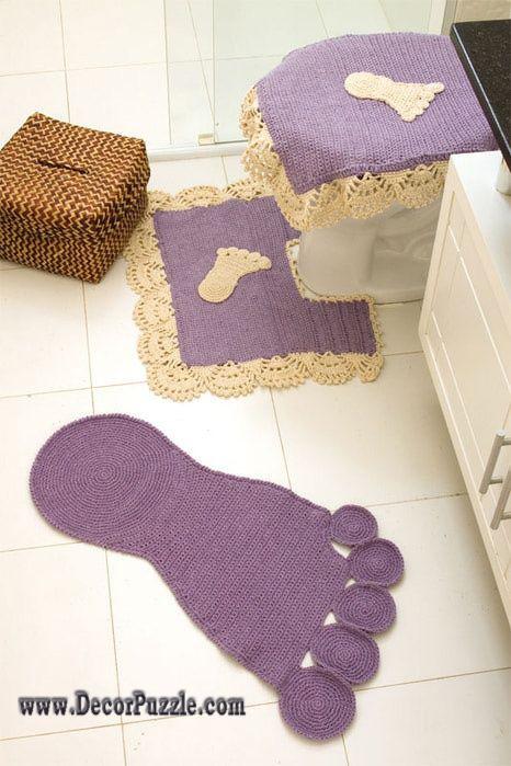 Diy Bathroom Rug Sets, Bath Mats 2017, Crochet Purple Bathroom Rugs And  Carpets