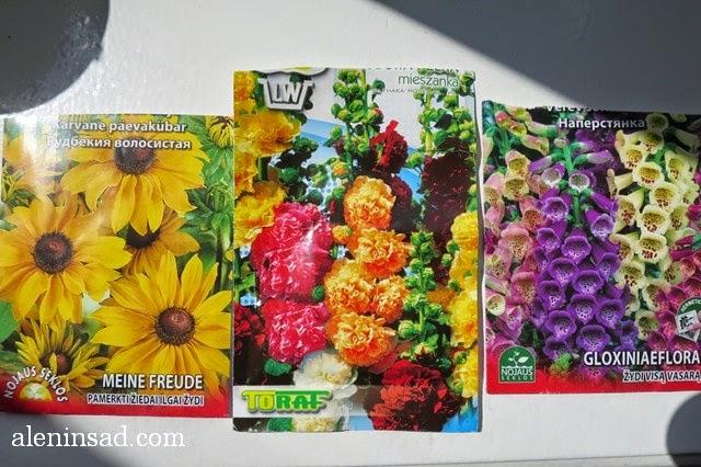 мальва, шток-роза, Alcea, наперстянка, глоксиния, Digitalis purpurea, однолетняя, рудбекия, Rudbeckia, семена, пакеты семян, аленин сад