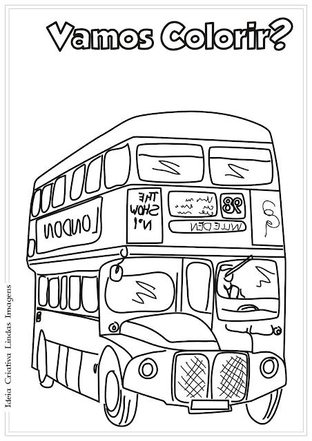 Ônibus Meios de Transporte desenho para colorir
