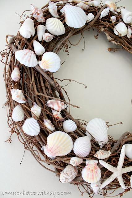 summer shell grapevine wreath