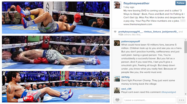 Manny Pacquiao Recieved Another Trash Talk by Floyd Mayweather Through Instagram Photo