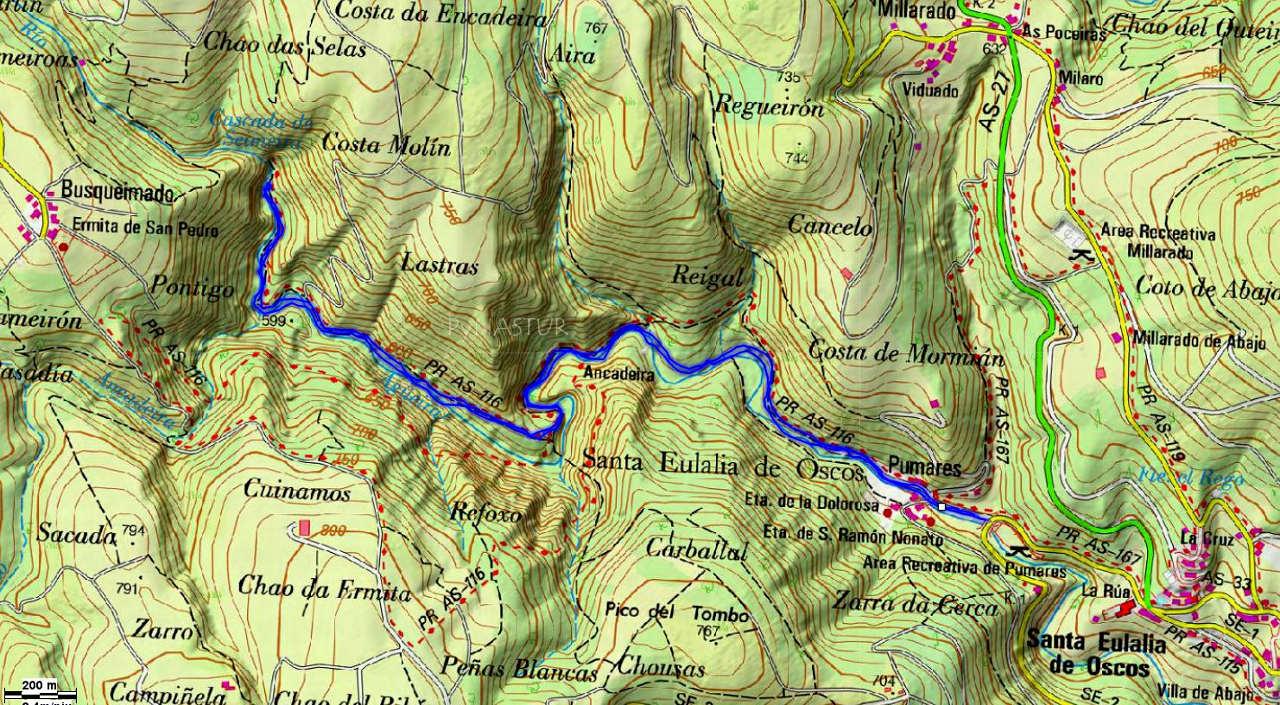 Mapa topográfico de la ruta