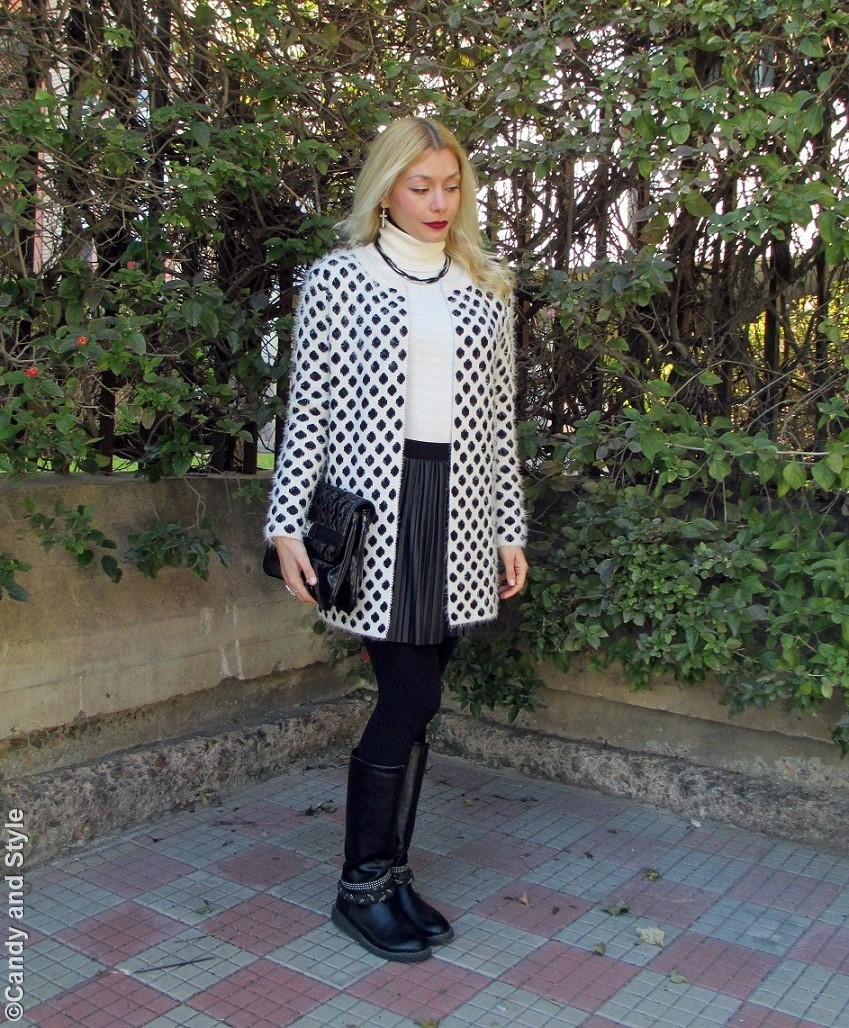 FluffyJacket+TurtleneckSweater+PleatedSkirt+Bikers+Clutch+BerryLips - Lilli Candy and Style Fashion Blog