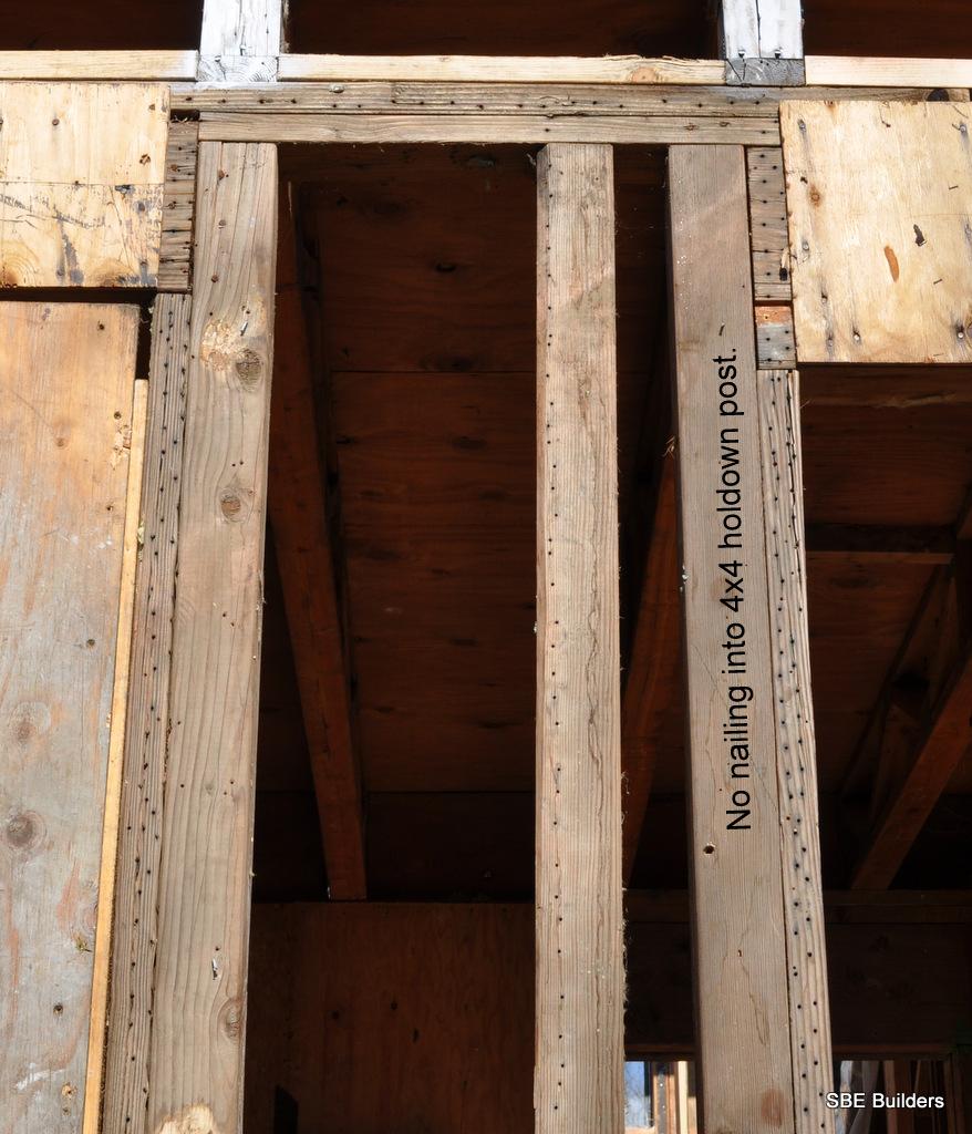 Roof framing geometry shear wall plywood nailing for Plywood wall sheathing