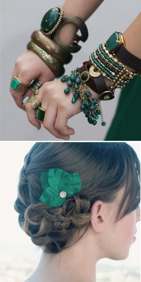 complementos verde esmeralda