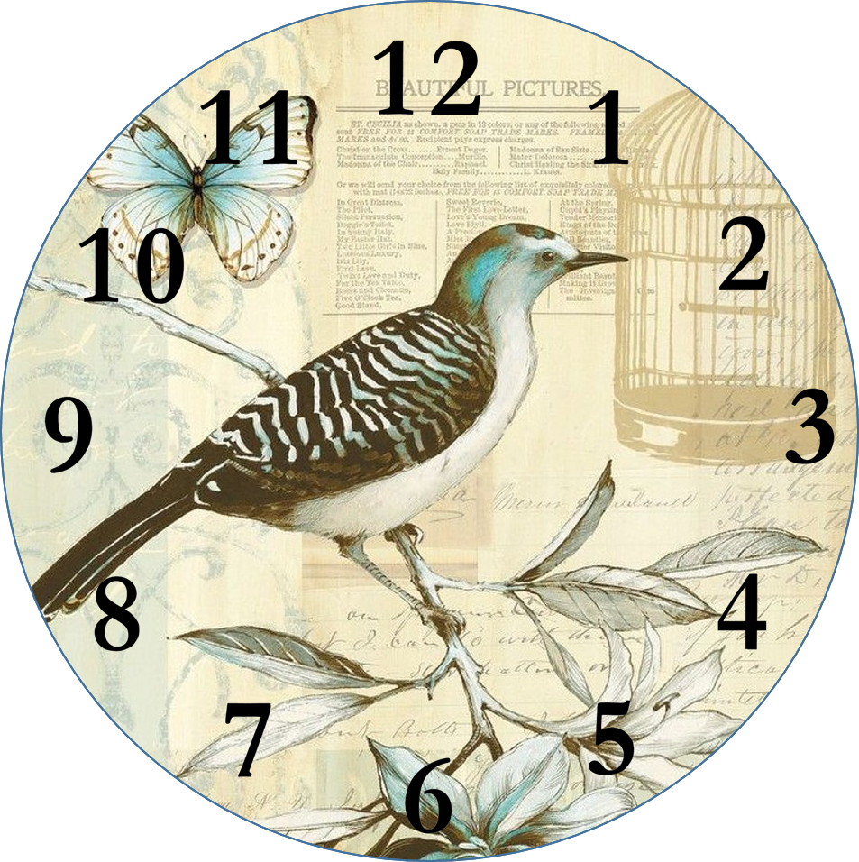 Smells like mommy clock faces for decoupage - Reloj pared vintage ...