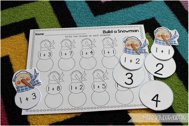 Miss Kindergarten {building a snowman- plus one addition problems}