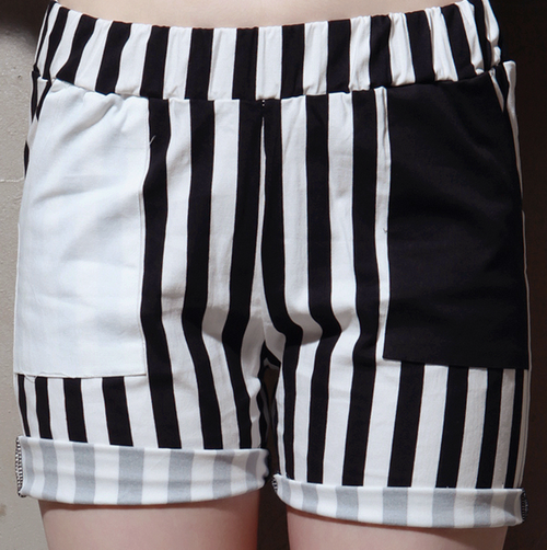 Black and White Striped Shorts with Contrast Pockets