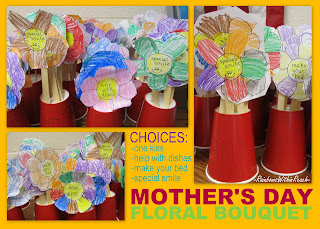 photo of: Mother's Day craft bouquet, kindergarten Mother's Day project, coupons for Mother's Day