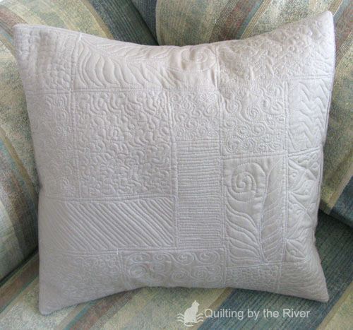 Free motion quilting on a pillow