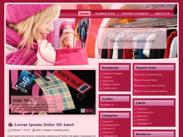 Girls Shopping Blogger Template