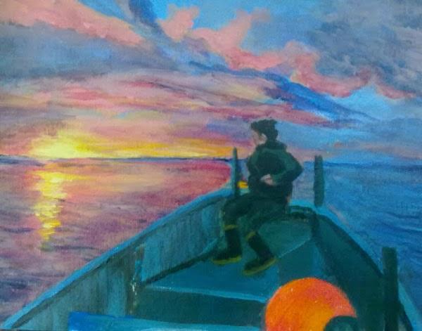 paisaje marino con amanecer en acrilico
