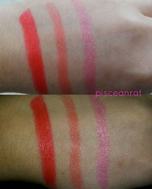 UK Collections lipstick swatch- L-R: Summer Red, Orange Fizz and Fairy Pink. (I was asking them for a violet one y'know!)