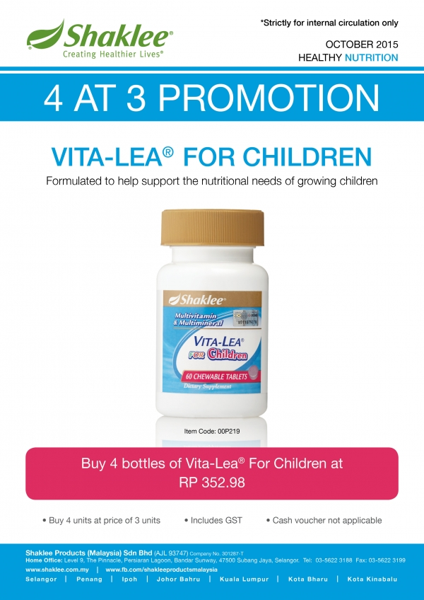 4 at 3 Promotion for Vitalea for Children
