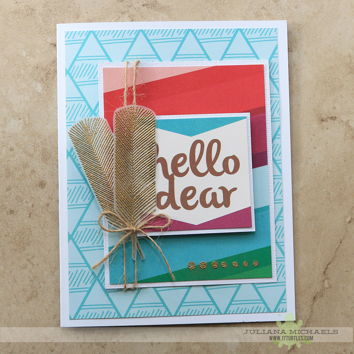 Hello Dear Card by Juliana Michaels for Elle's Studio featuring Sycamore Lane and October Exclusive Kit