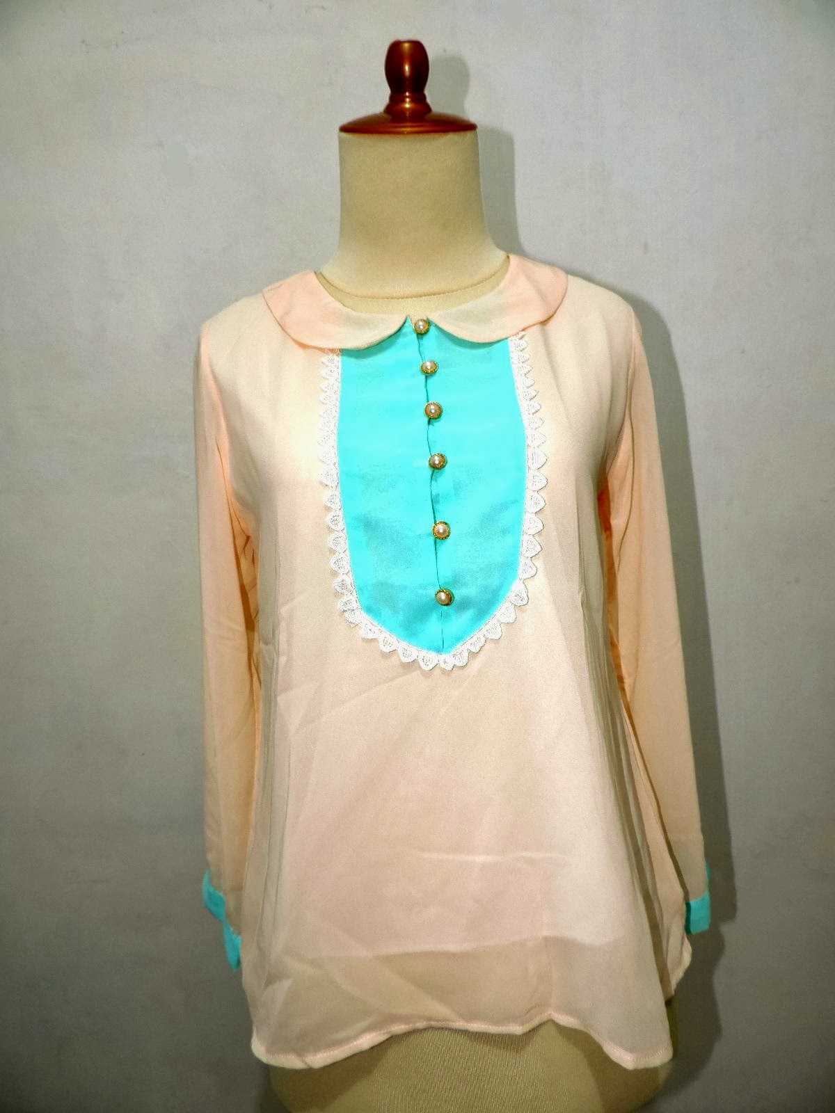 Model Blus Korea Lengan Panjang Ukuran Fit To S