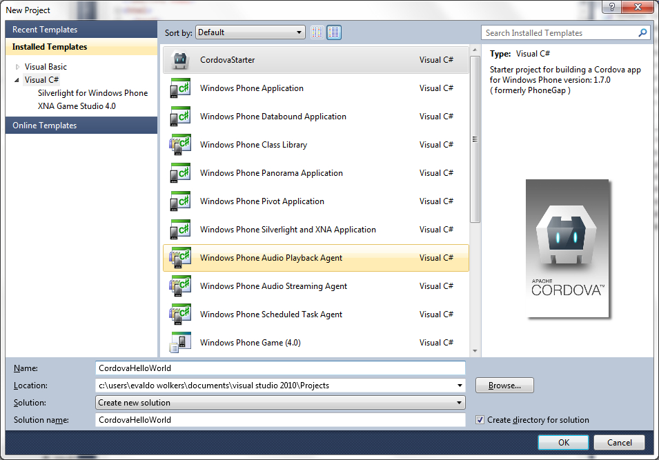Geekay labs how to set up apache cordova phonegap in visual now start visual studio 2010 express close and restart if it is already running and create a new project you will now find the cordova templates in pronofoot35fo Choice Image