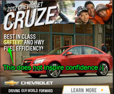 Chevrolet Cruze: Best in class 'saftey' (sic)