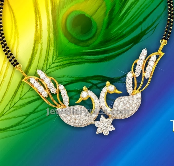 diamond peacock mangalsutra from lagu bandhu jewellers