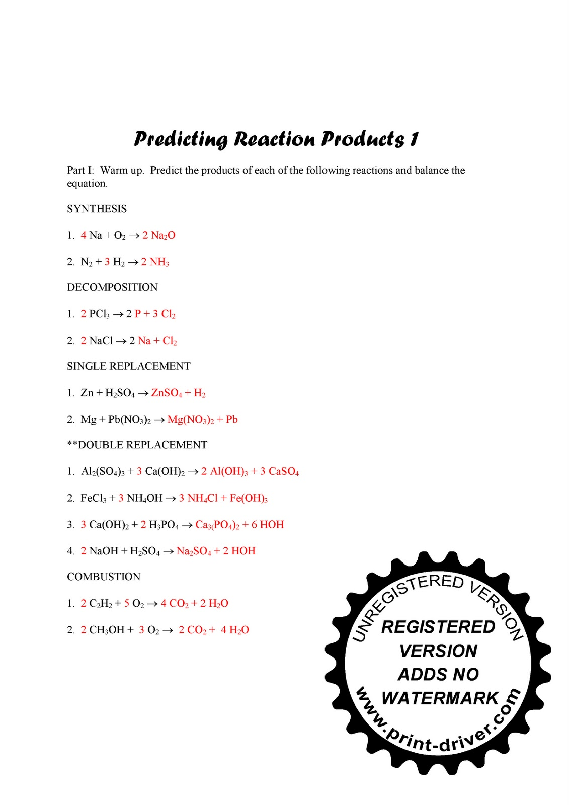 Mr Zehners Chemistry Class Friday Feb 11 2011 – Predicting Products Worksheet Answers