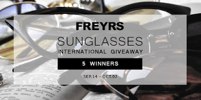 Enter the Freyrs Sunglasses Giveaway. Ends 10/4
