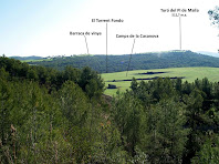 Vistes del pla del Turó del Pi de Malla per on passarà el recorregut