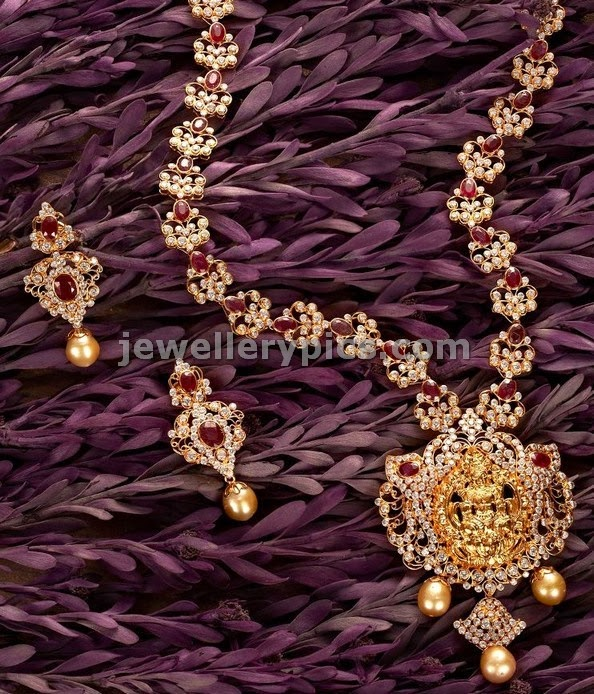 diamond temple haram and earrings by lalitha jewellers