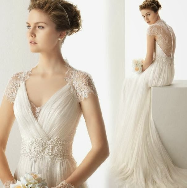 A Line Vintage Cap Sleeve Lace Bridal Wedding Gown :: My Gown Dress