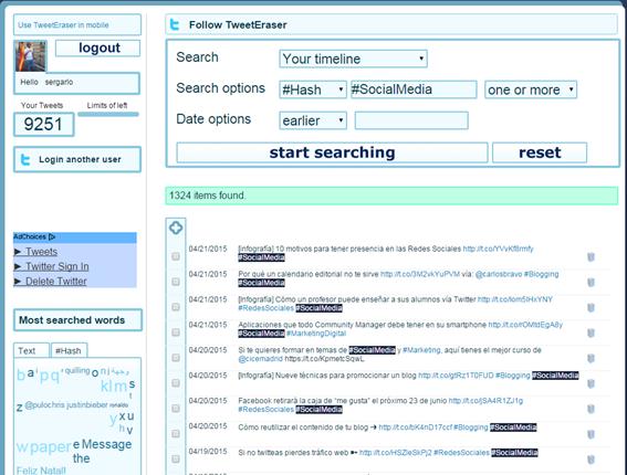 Borrar, Tweets, Twitter, redes sociales