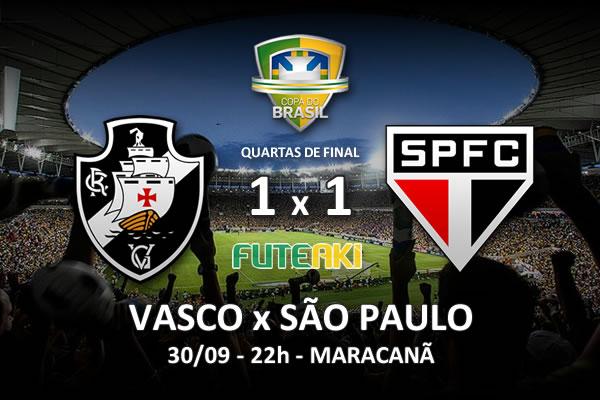 Veja o resumo da partida com os gols e os melhores momentos de Vasco 1x1 São Paulo pelas quartas de final da Copa do Brasil 2015.