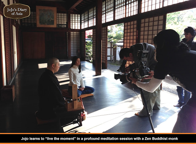 "Jojo learns to ""live the moment""in a profound meditation session with a Zen Buddhist monk - ""Jojo's Diary of Asia"""